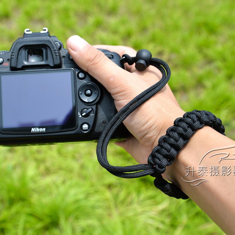 Оригинал черный исключительно вручную ткать зеркальные камера браслет слегка один шнур ключ чайник камера ремешок