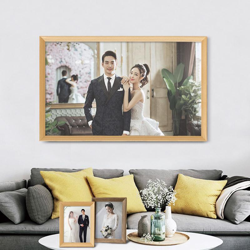 寸36242076婚纱照洗照片加相框创意画框装裱简约挂墙定做摆台