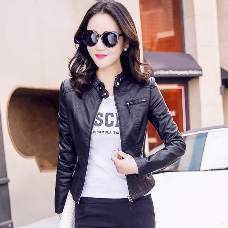 Leather coat womens 2019 new Korean short spring and autumn versatile small Pew short jacket handsome leather jacket fashion