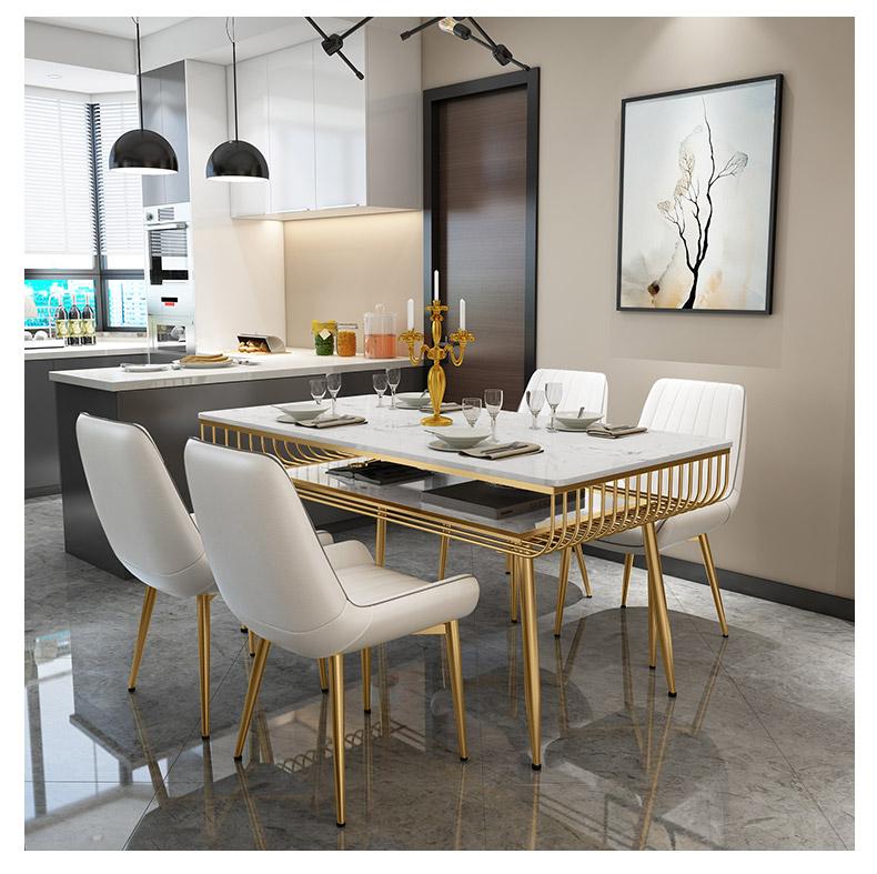 北欧大理石双层餐桌长方形中高级餐厅现代家用ins轻奢餐桌椅组合