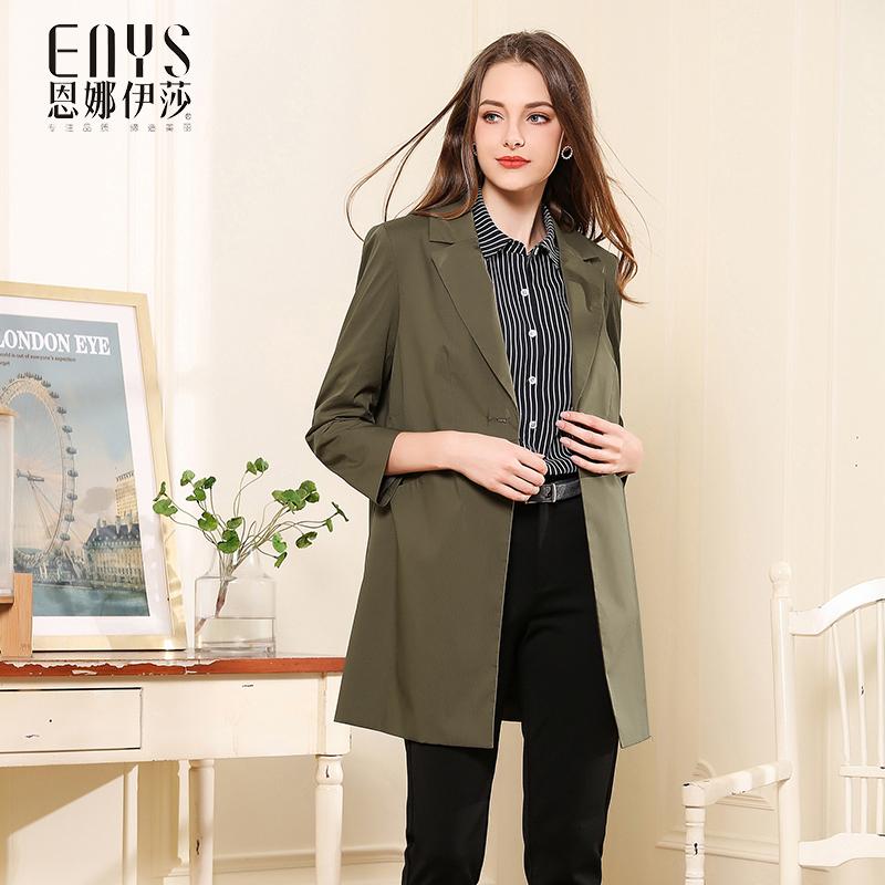 Ennaishas autumn 2018 new medium and long slim one button light windbreaker womens coat green