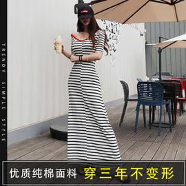 2021一步裙女长裙夏装短袖条纹V领打底裙子连衣裙长款宽松包臀裙