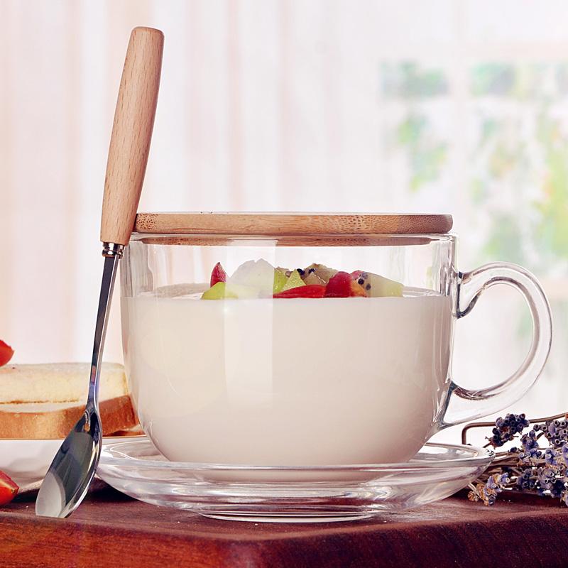 大容量水杯女马克杯带盖勺牛奶杯早餐杯玻璃杯子家用麦片碗燕麦杯