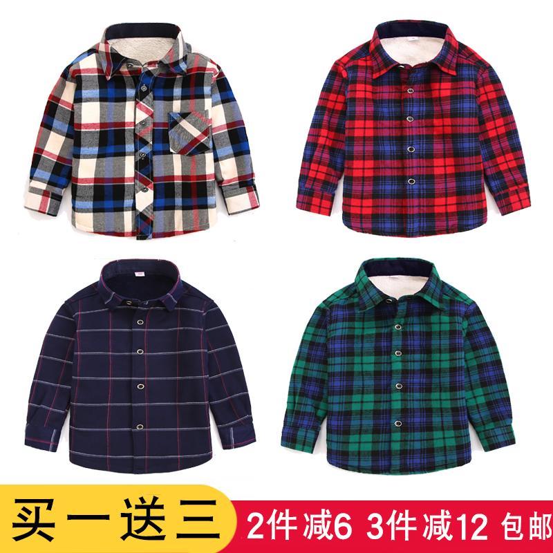 男童加绒加厚保暖衬衫儿童长袖宝宝格子冬装新款衬衣上夹棉中大童