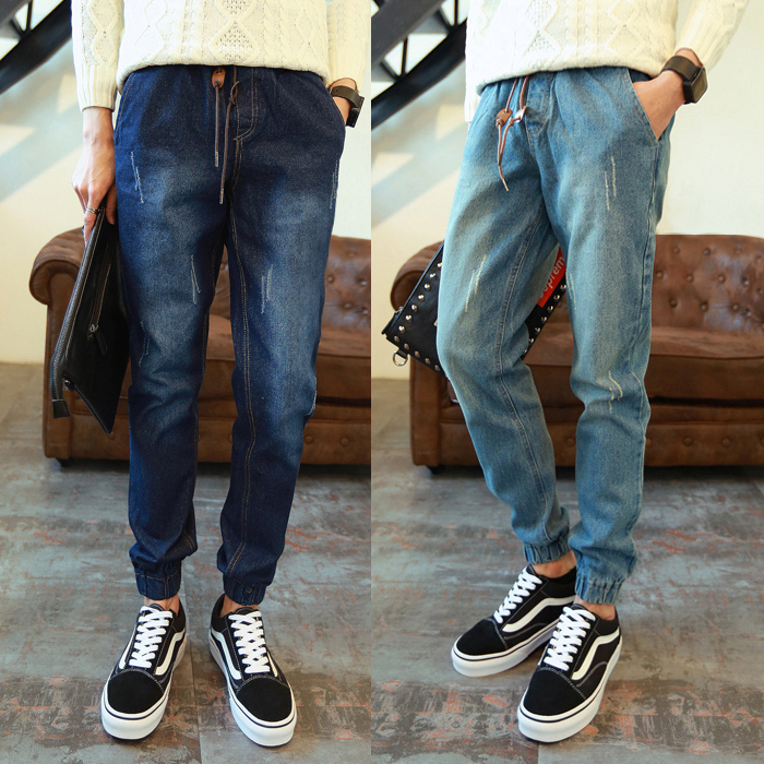 Mens jeans, Harlem pants, trendy small foot closure, autumn and winter casual mens tapered corset pants, Korean Hip Hop Pants