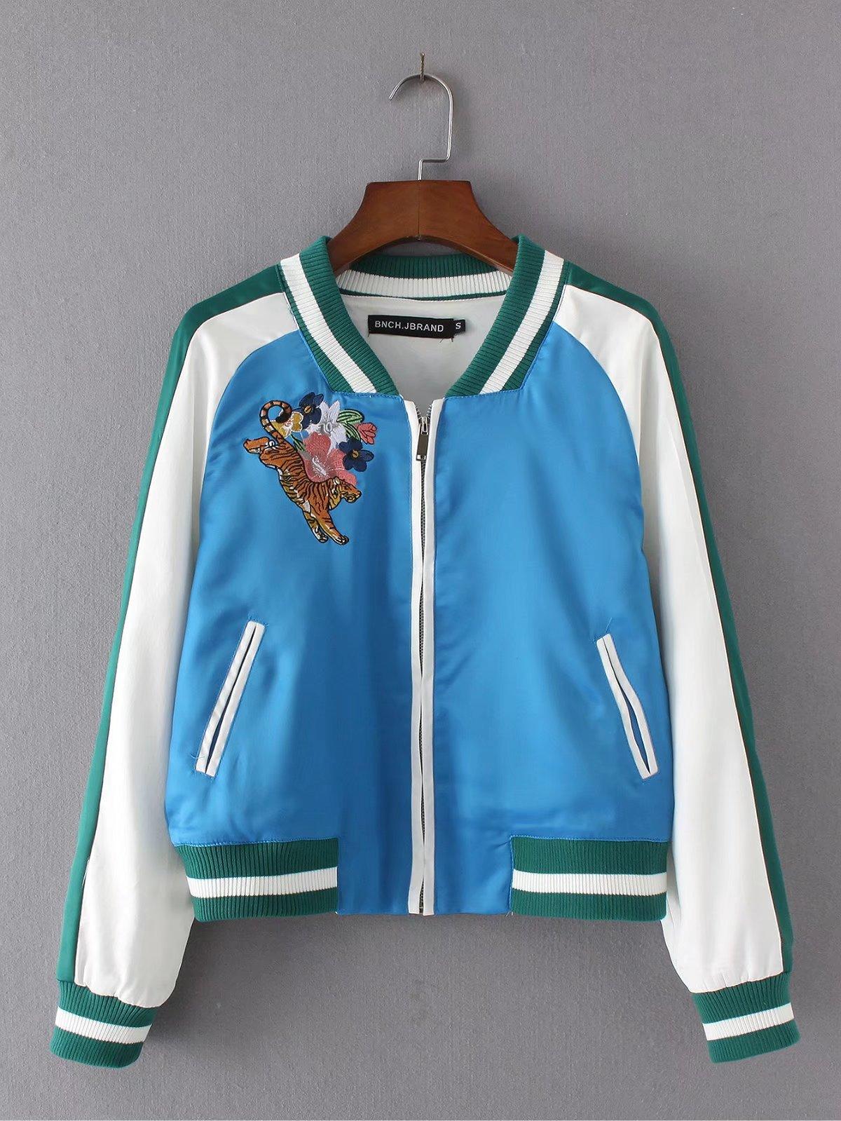 2017 весной и летом, спортивная(ый) новый цвет сатин контраст цвета вышивка длинный рукав куртки синий и белый бейсбол равномерное куртка