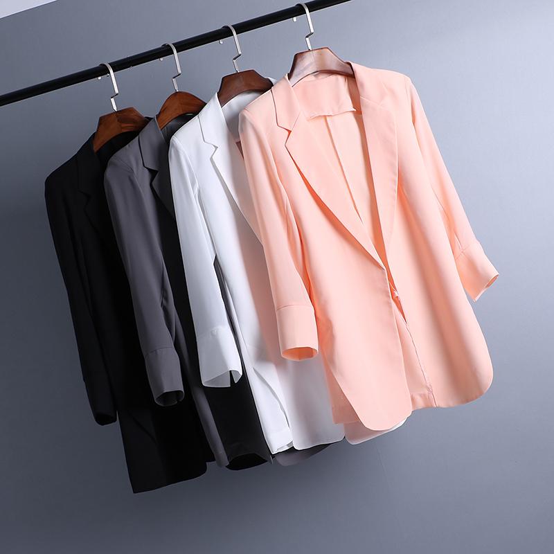雪纺西装女OL韩版中长款春夏薄款休闲修身小西装九分袖大码女外套