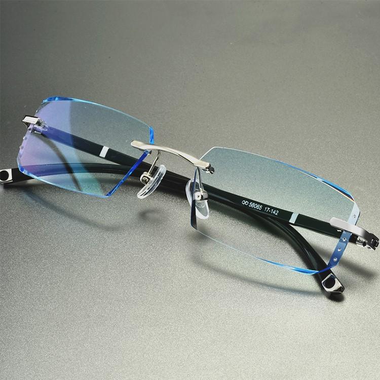 正品配变色切边无框近视眼镜男防钻石防辐射平光蓝光加散光大网红