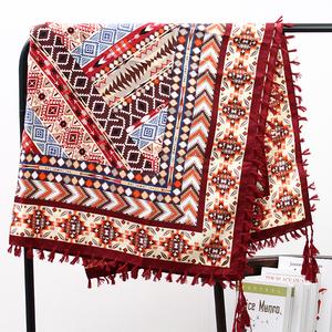 大方巾女春秋超大百搭披肩冬季棉麻正方形缎面女士韩版保暖方围巾