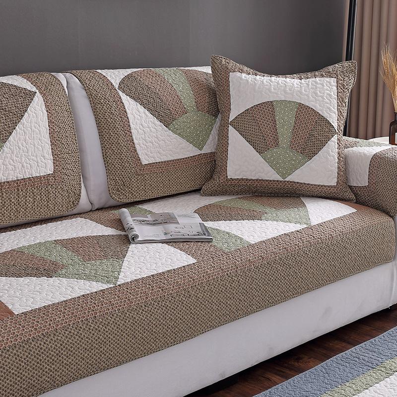 全棉布艺沙发垫简约现代四季通用纯棉坐垫田园防滑沙发套巾罩全包11-04新券