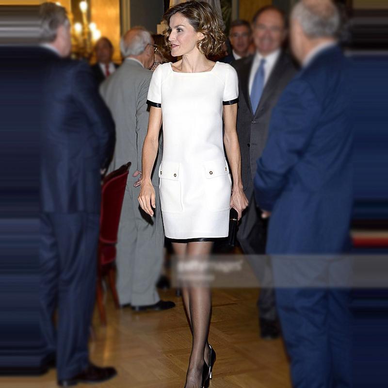 欧洲站2020年夏季凯特王妃同款高端职业女装新款时尚白色连衣裙潮