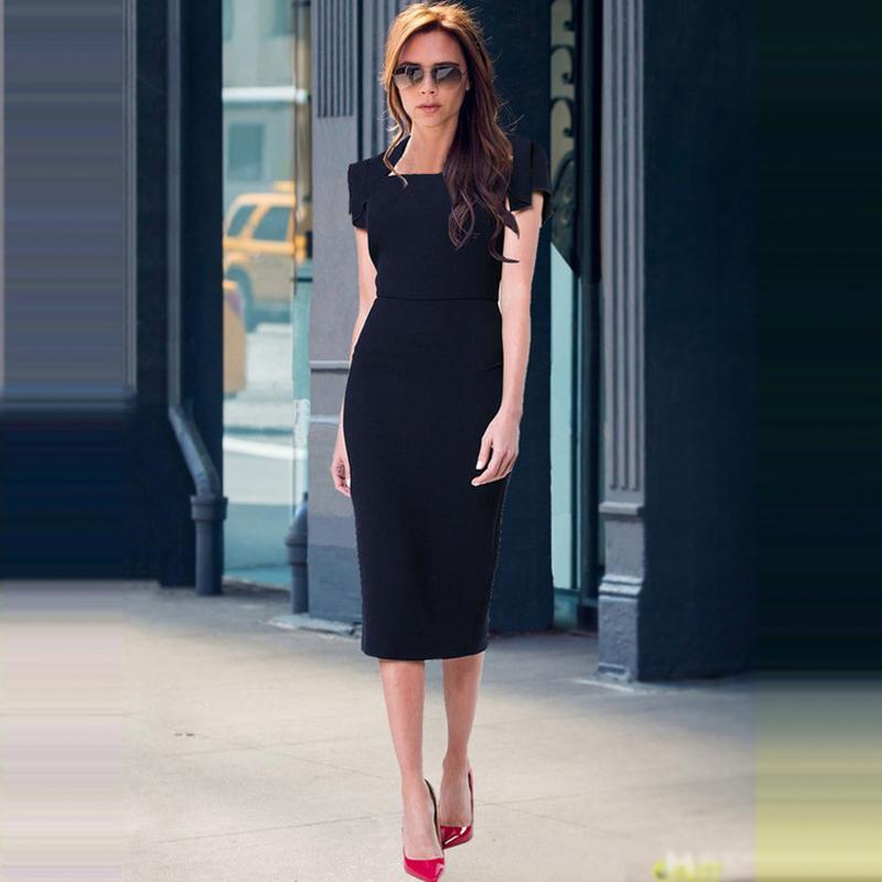 欧美2018年夏季明星贝嫂走秀新款时尚女装中长款黑色显瘦连衣裙女