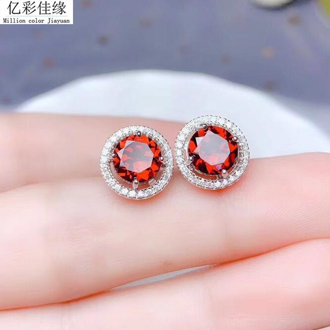 Natural Garnet Earrings color Ruby 925 Silver Earrings female benmingnian jewelry temperament versatile Earrings