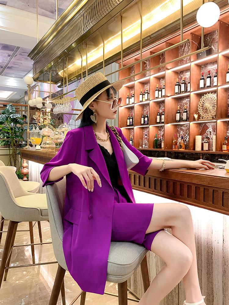 欧洲站2021夏新款西服上衣外套短裤两件套女装韩版宽松显瘦套装女