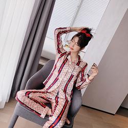 2020春秋睡衣女夏冰丝绸短袖新款套装ins潮网红同款可外穿家居服
