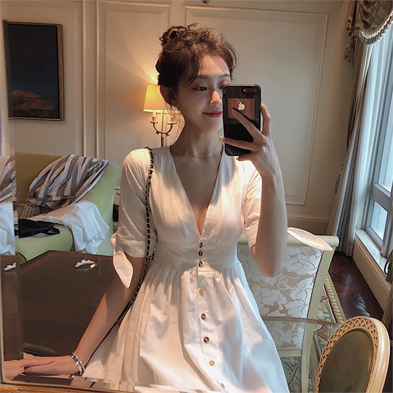 正品保证海边学生时尚流行气质洋气甜美韩版宽松收腰白色连衣裙女仙修身仙