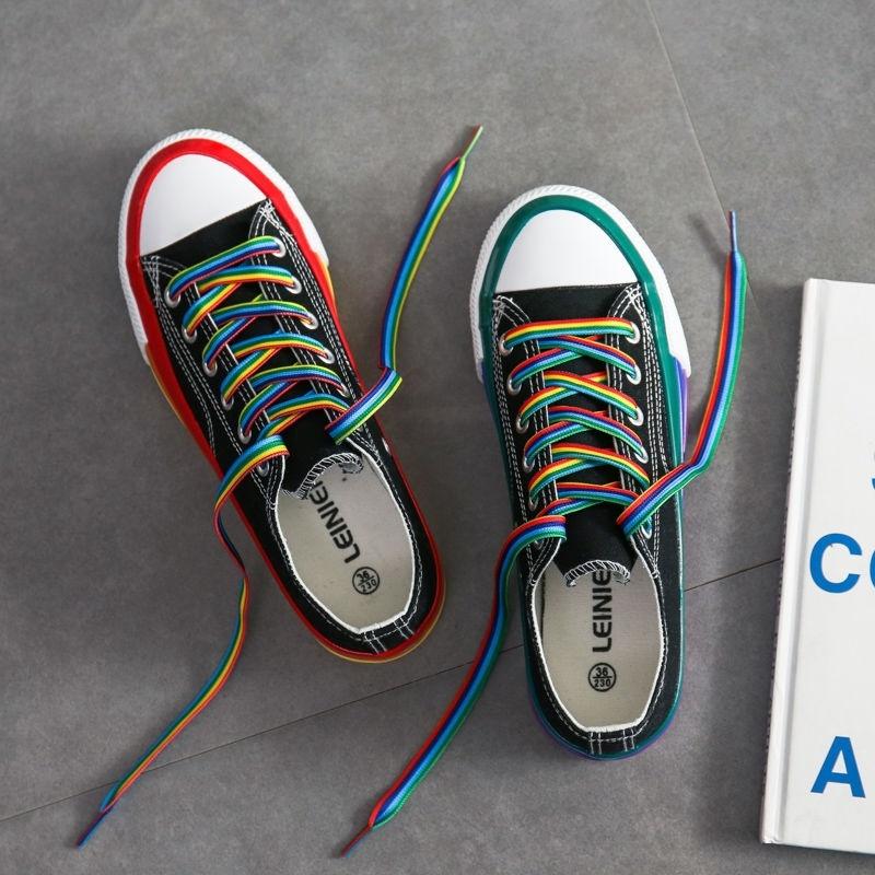 中國代購 中國批發-ibuy99 运动鞋 红边小白鞋帆布鞋女2021年新款夏季彩虹韩版百搭运动板鞋