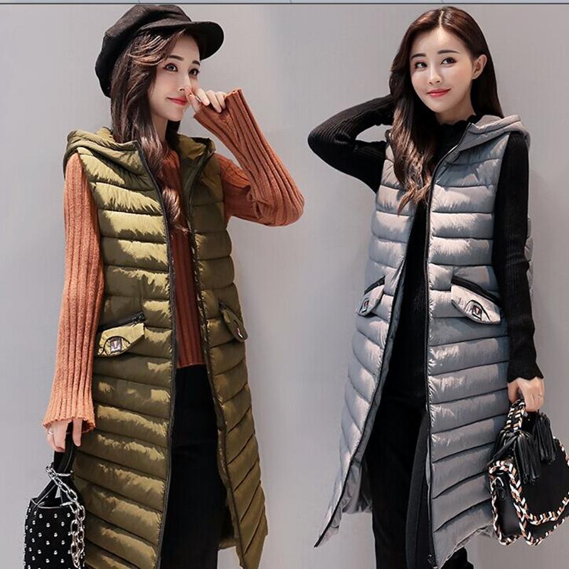 Хлопок жилет женский осенний зимний новый корейский увеличение тонкий длина хлопок жилет утолщённый сохраняющий тепло подбитый пальто