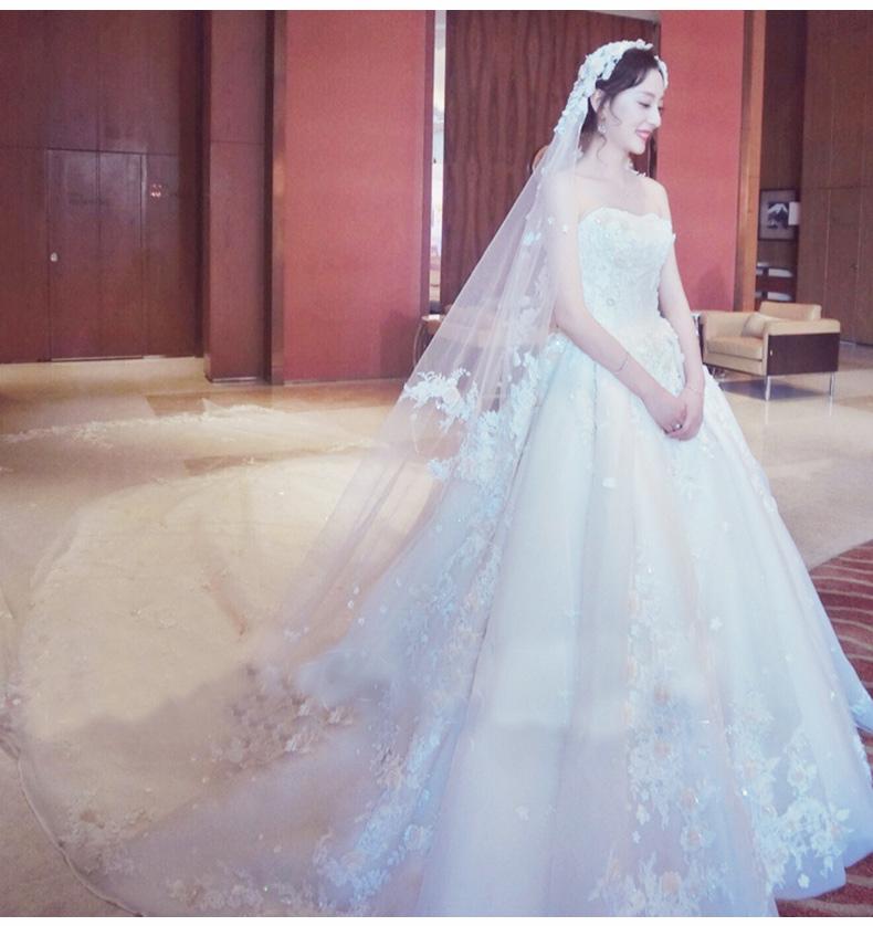出租抹胸婚纱2021新款大拖尾韩式唯美豪华宫廷显瘦抖音款结婚礼服