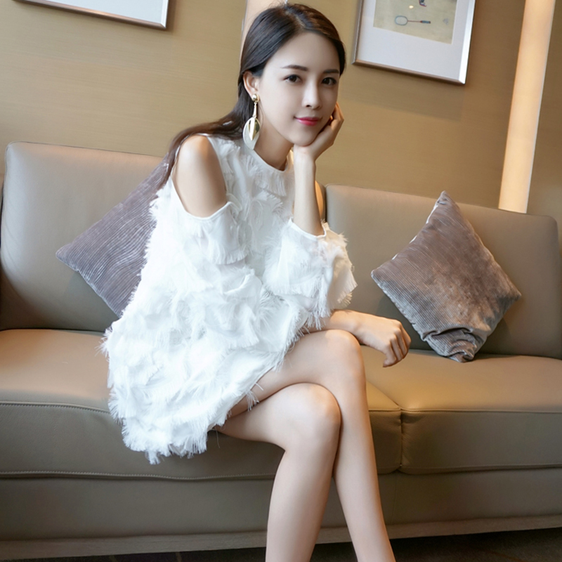 Underskirt spring / summer 2020 new white feather tassel off shoulder long sleeve dress loose and thin Chiffon Skirt