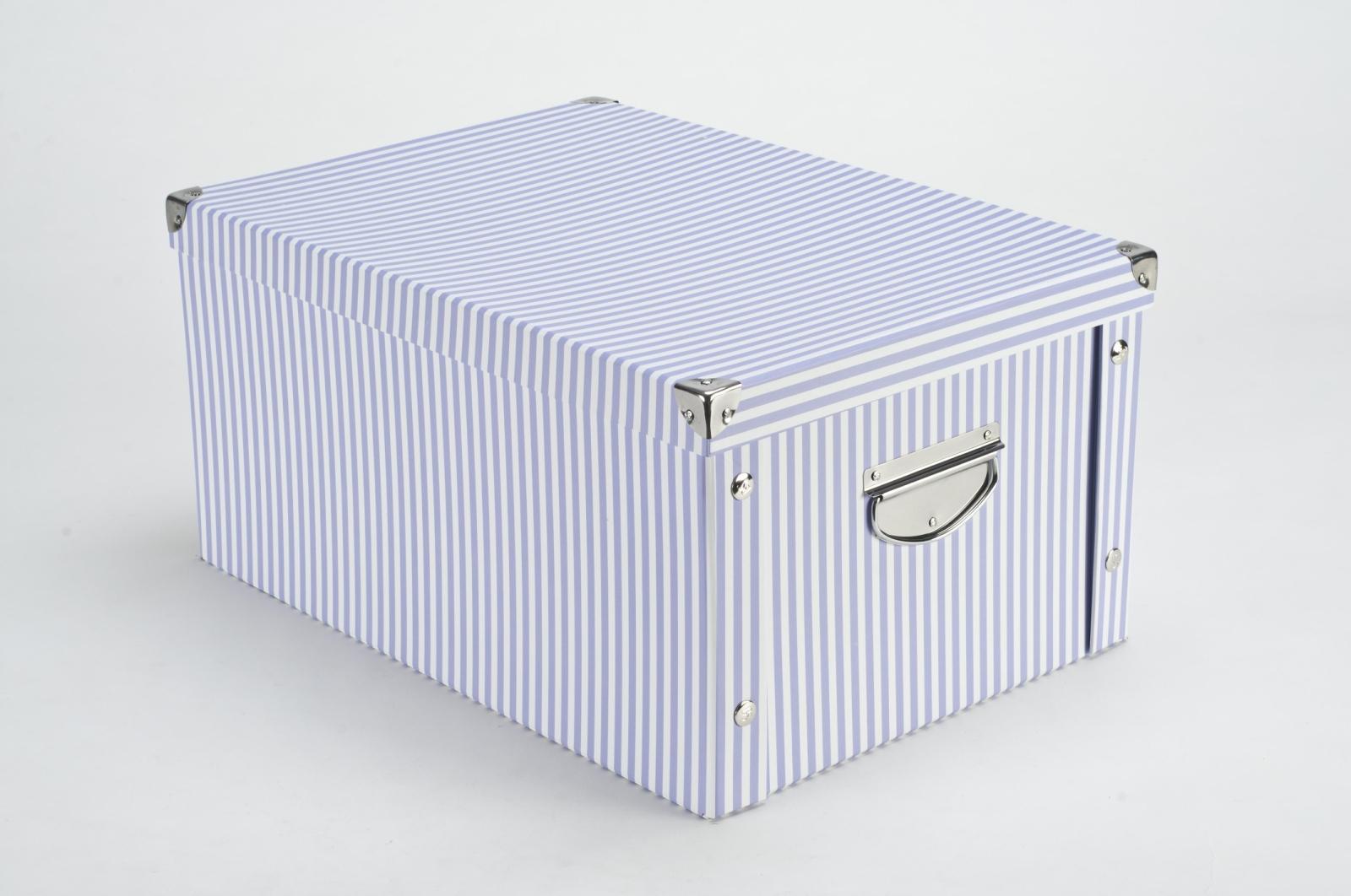 热销浪漫紫色条纹纸质收纳箱书本有盖可折叠整理箱衣服家居收纳