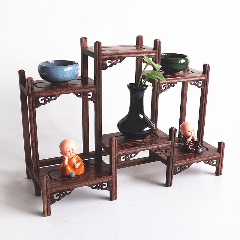 红木博古架小型多宝阁鸡翅木茶具架实木置物架茶壶架子展示架摆件
