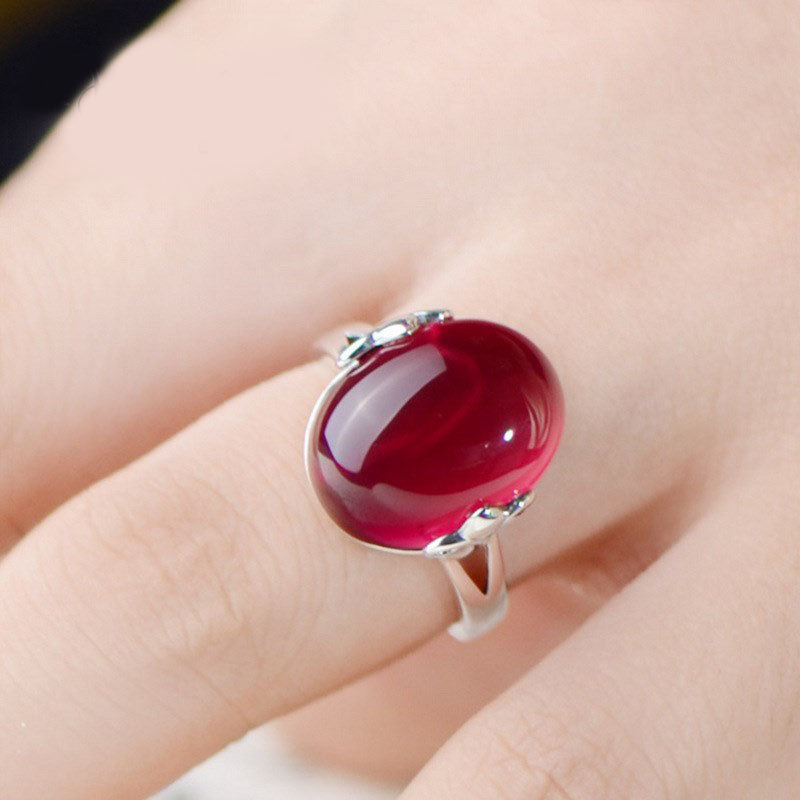 High grade jewelry Ruby green chalcedony opening adjustable loose mouth womens ring with diamond ring jewelry
