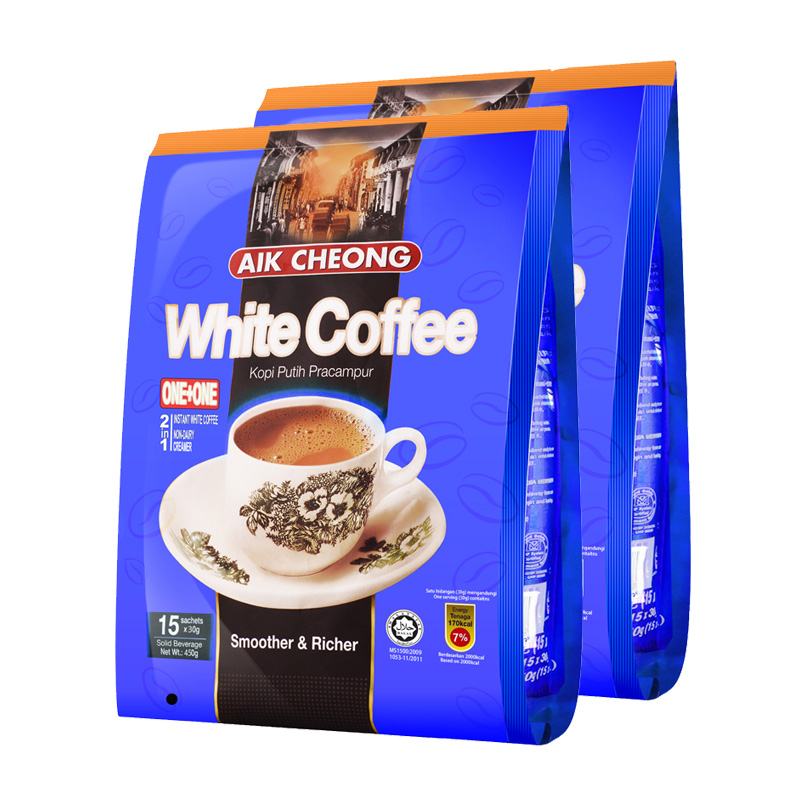 Two in one white coffee 450g * 2 bags of Yichang old street instant coffee powder imported from Malaysia