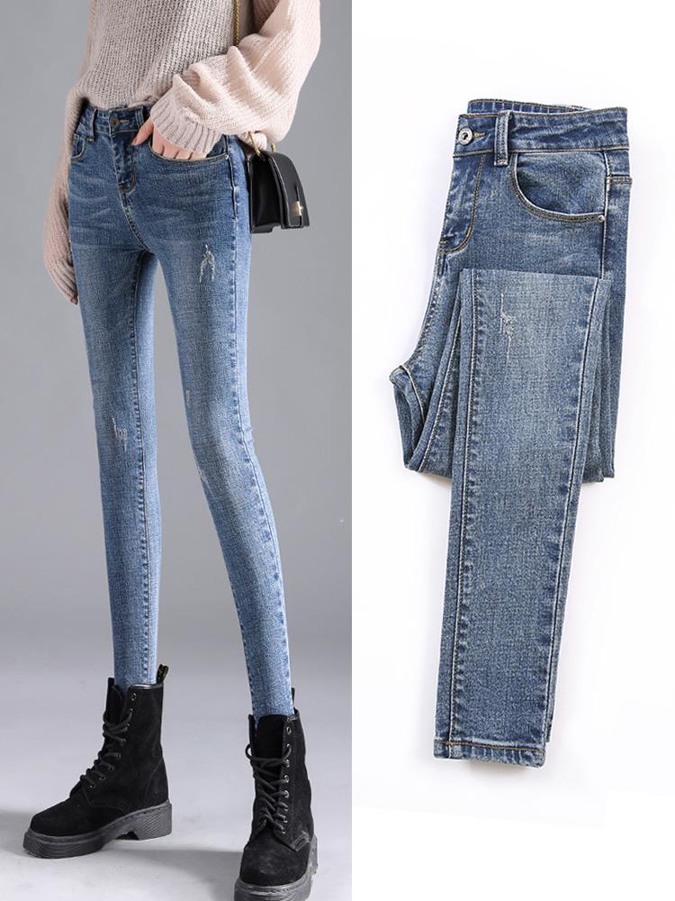 牛仔裤女春季2021年新款潮高腰女士修身显瘦加绒紧身小脚铅笔裤子