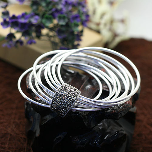 Twining. 925 Sterling Silver multi-layer RING BRACELET HANDMADE Thai silver fashion retro personality Bracelet childrens jewelry gift