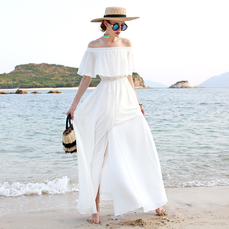 墨颜新款女夏海边度假沙滩裙露肩抹胸长裙露背开叉一字肩连衣裙仙券后297.00元