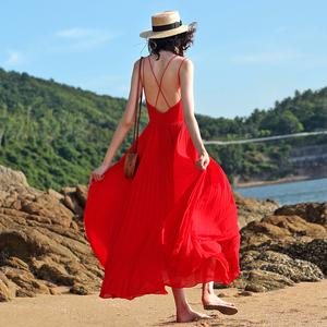 2019夏新款旅拍轻婚纱海边度假女装沙滩裙露背长裙超仙年会小礼服