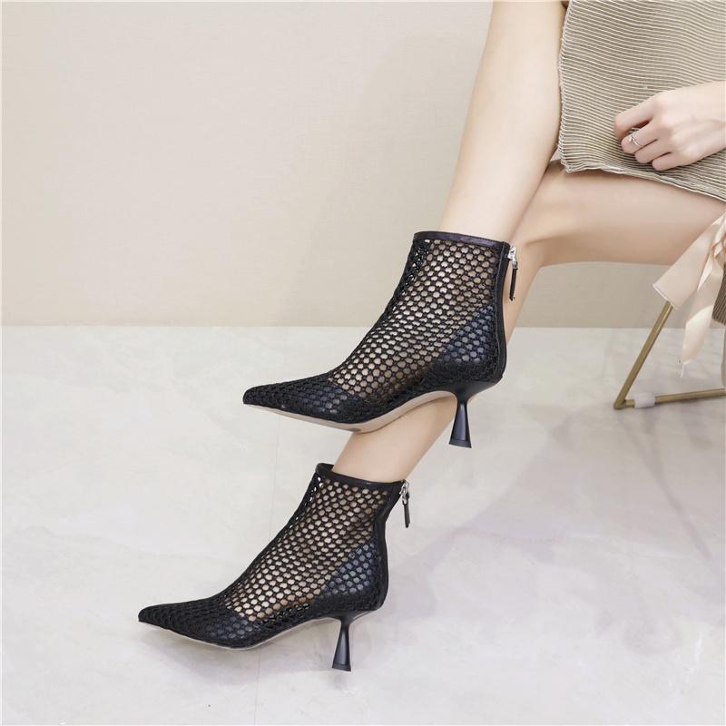 欧洲站女鞋高跟真皮网靴女镂空细跟尖头高跟鞋透气网纱短靴凉靴图片