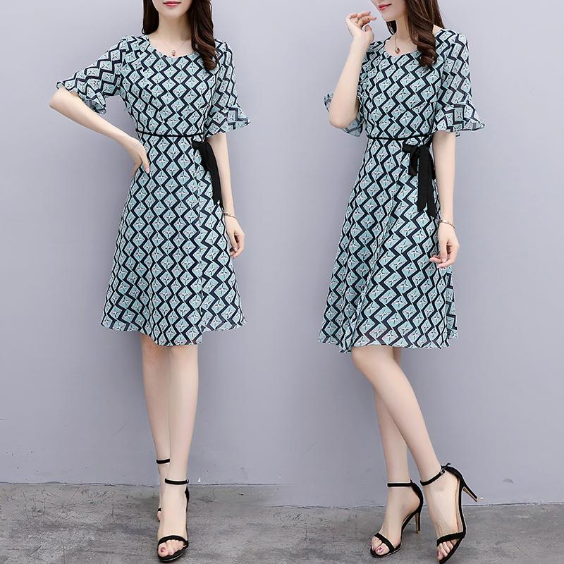 高腰套头2018夏季短袖中裙修身显瘦WXXW-Y P105