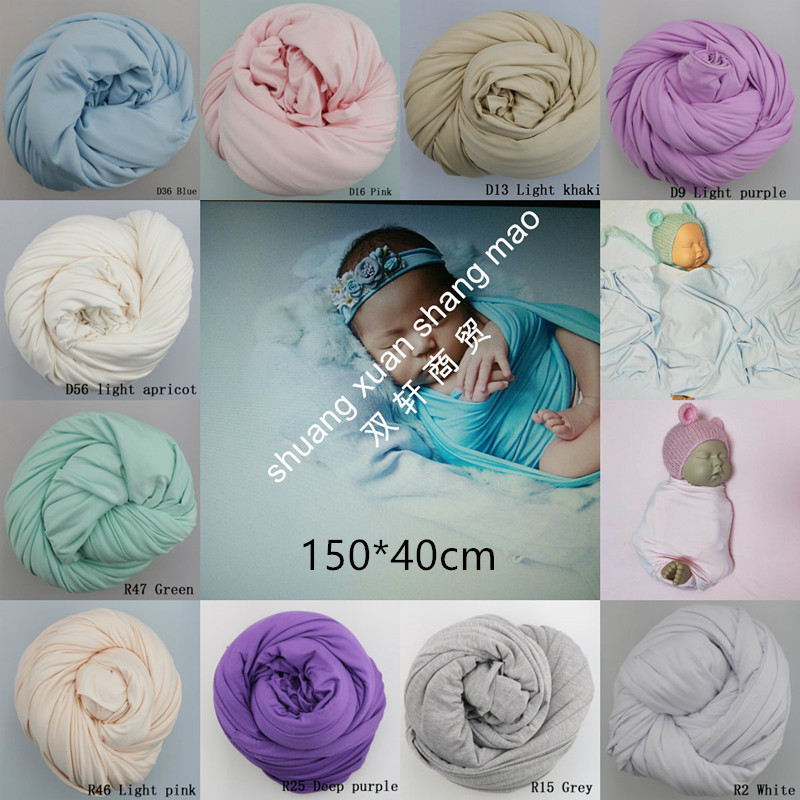 150 * 45cm super elastic newborn Photography prop polyester cotton rayon wrapped scarf photography background fabric