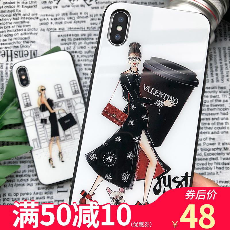 欧普瑞斯iphone手机壳苹果6S/6plus/7plus/8pplus/x/xs max保护套时尚女潮牌新款ins风超火钢化玻璃壳
