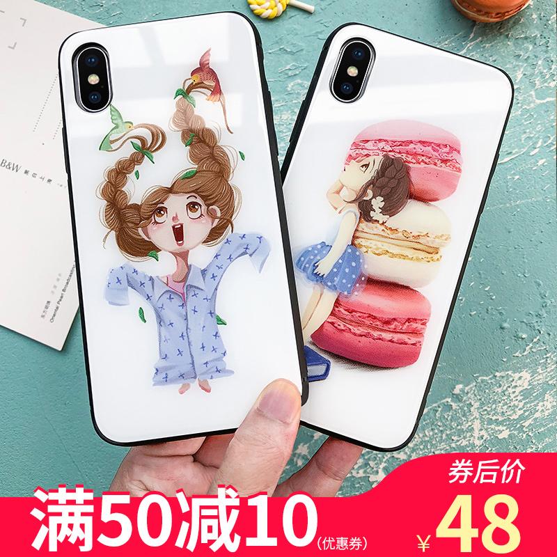 欧普瑞斯iphone x/xs max手机壳苹果6Splus/7plus/8pplus保护套时尚女潮牌新款个性创意ins风钢化玻璃壳情侣