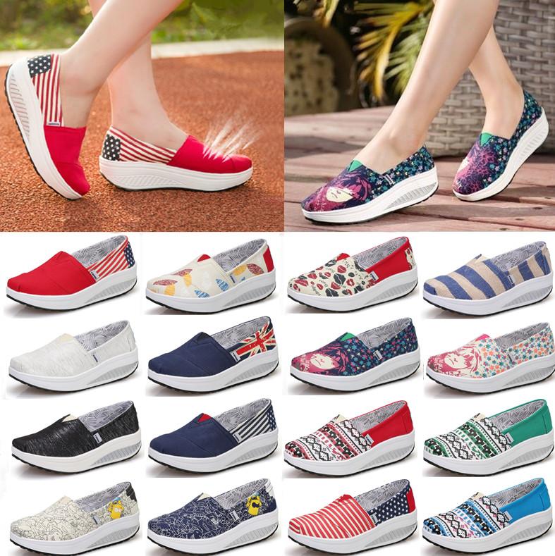咪呢咔韩版夏厚底帆布鞋松糕女鞋摇摇鞋女坡跟一脚蹬懒人单鞋布鞋