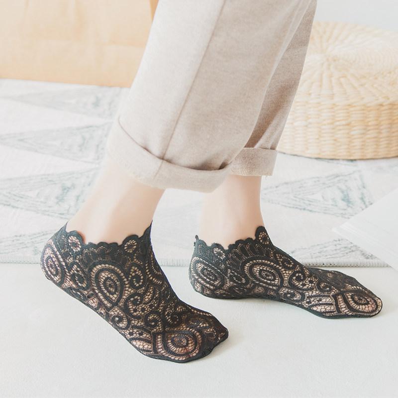 夏季浅口蕾丝袜子女日系花边短袜网纱透气船袜超薄棉底防滑低帮袜