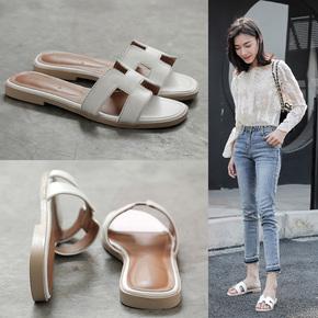 INS夏季h拖鞋女外穿2020新款潮鞋时尚大码方头平跟凉拖沙滩一字拖