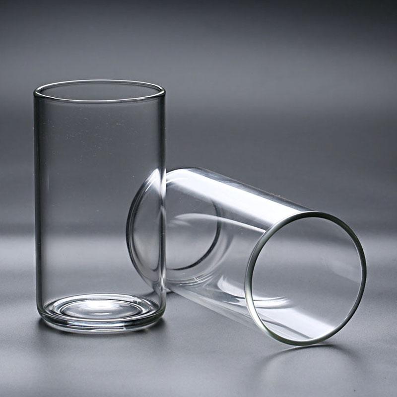 出口日本 无铅耐热玻璃牛奶杯防炸裂高档圆形直筒透亮水杯绿茶杯图片