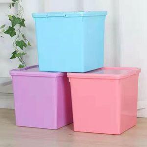 四方收纳箱密封有盖加高深连体整理储物箱杂物筐零食盒正方形米桶