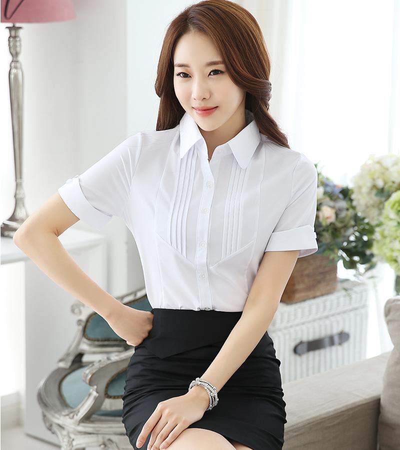 2018夏季新款大码雪纺女白衬衫短袖半袖工作服工装衬衣职业女装ol