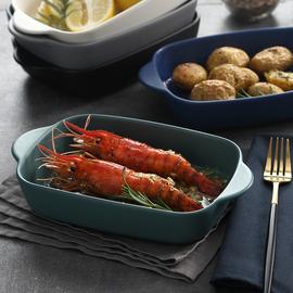 北欧双耳烘焙盘烤箱盘碗盘焗饭盘 家用陶瓷盘子大号 芝士饭盘深盘