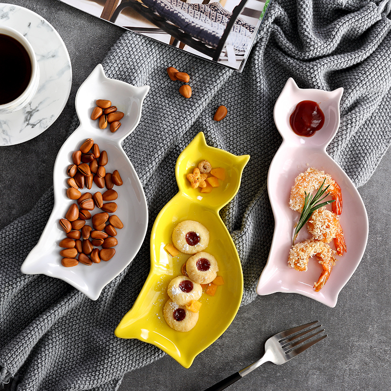 Japanese creative snack plate cartoon ceramic breakfast ceramic plate
