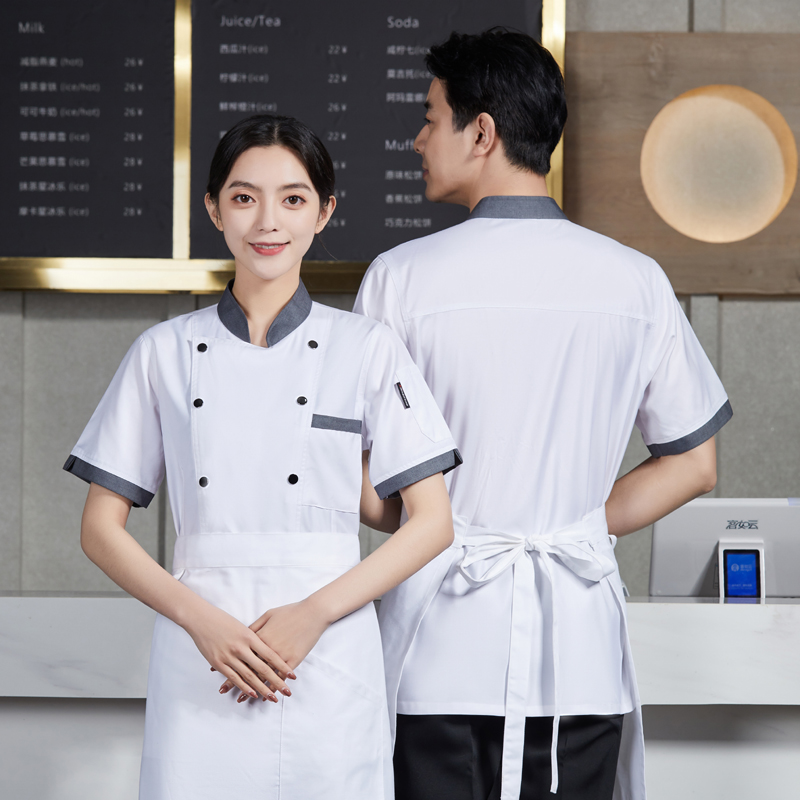Canteen chefs clothes short sleeve Chinese Restaurant Hotel back kitchen work clothes Bakers uniform dessert cake clothes