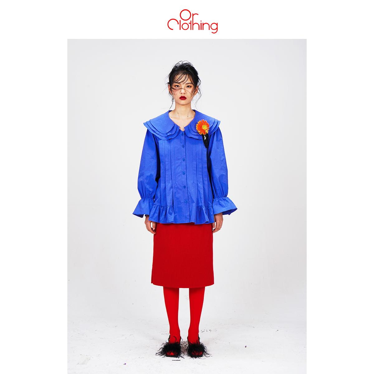 Or Clothing | 原创自制 复古宽松大翻领花瓣袖单排扣百搭衬衣 女