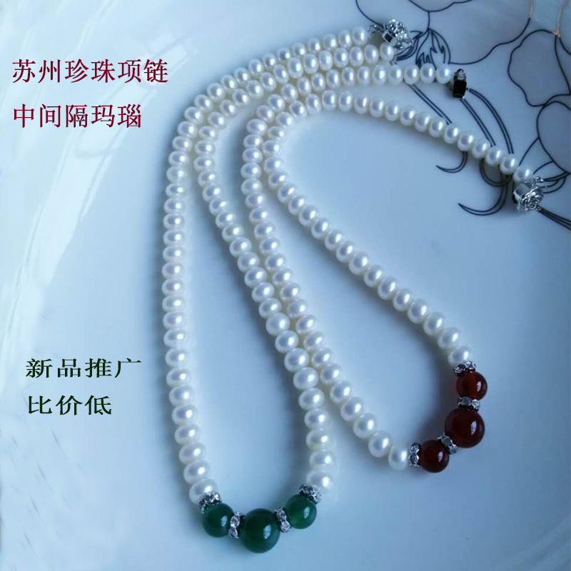 Pearl Necklace White Suzhou Taihu Lake flawless strong light all seasons genuine pearl 2019 natural silver buckle