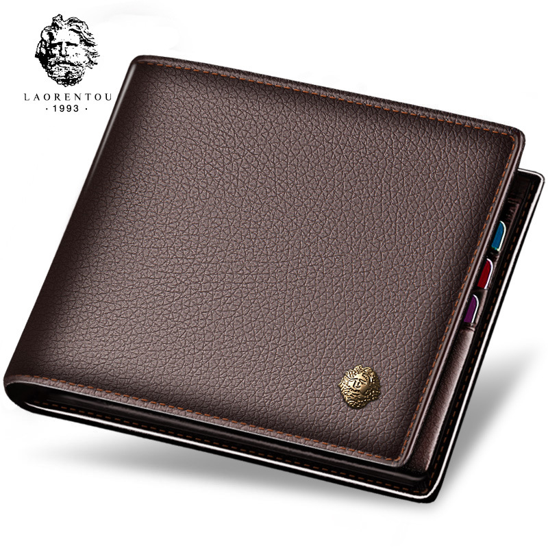 Brand wallet mens short leather flat top leather business zipper wallet bag mens small money bag