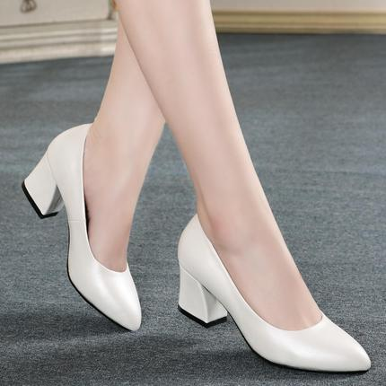 Fall 2020 new high heel single shoes womens thick heel thick bottom pointed ol professional sexy Four Seasons Womens shoes large size